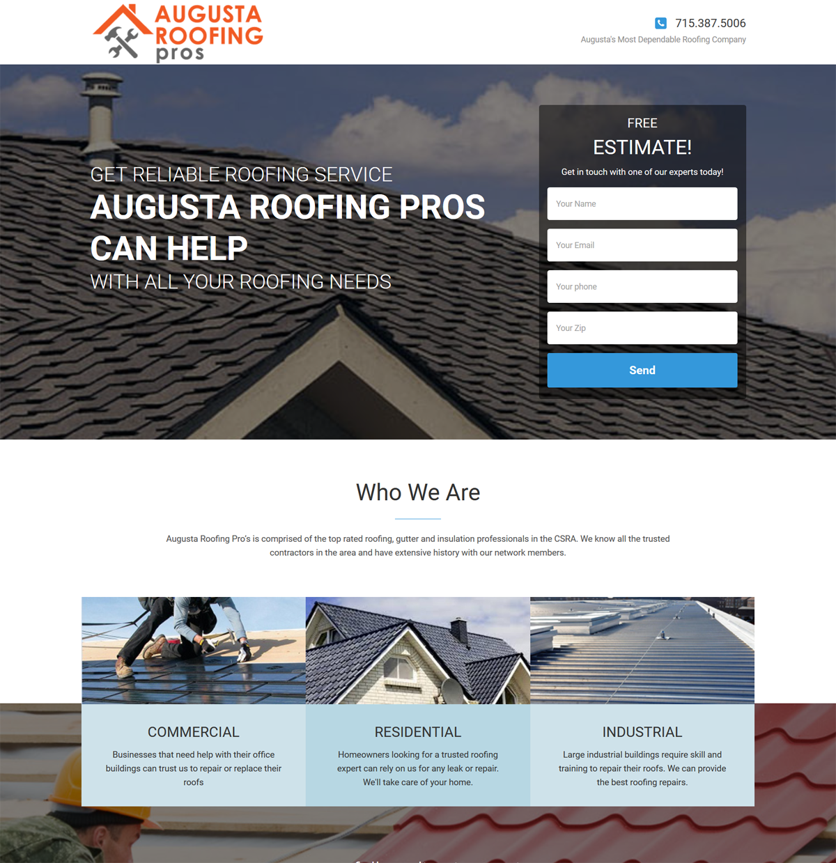 Roofing Website Landing Page